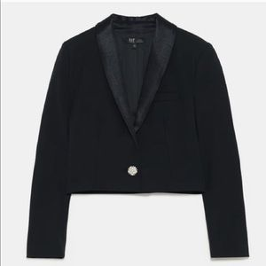 Zara Black Jewel Cropped Tuxedo Jacket
